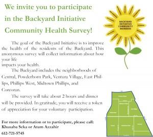 We invite you to participate in the Backyard Initiative Community Health Survey