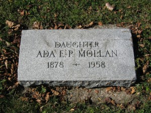 The Mollan family ran a private hospital on land now part of Matthews Park in the Seward Neighborhood. Ada Mollan, the oldest daughter, matron or proprietress, died on April 15, 1959 at the age of 79. Since the cemetery had been officially closed to future burials in the 1920s, the City Council needed to approve her burial in the family plot. Ada Mollan is buried in Lot 105, Block A with two of her nieces, her grandmother, brother, mother and one of two step-mothers.  Photo by Sue Hunter Weir