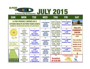July 2015 A-Pod calendar