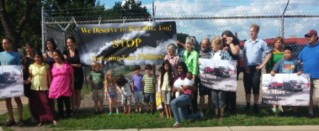 Neighbors rally for Clean Air at the Roof Depot Site. (East 28th St. at Longfellow)