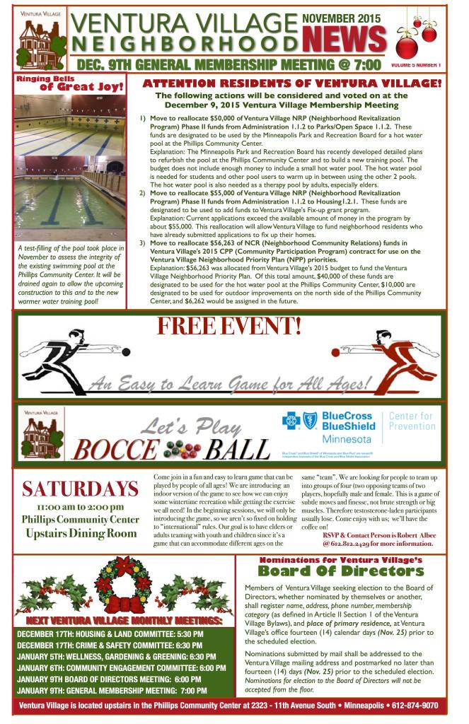 DECEMBER 2015 VENTURA VILLAGE NEWS PAGE