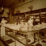"Baker John Ferman is pictured here at the Ferman Bakery 320 Cedar Avenue, Minneapolis.  ""The original 5"" x 7"" sepia print, mounted on plain cardboard without embossings [noting photographer or date], was in a box of my dad's stuff."""