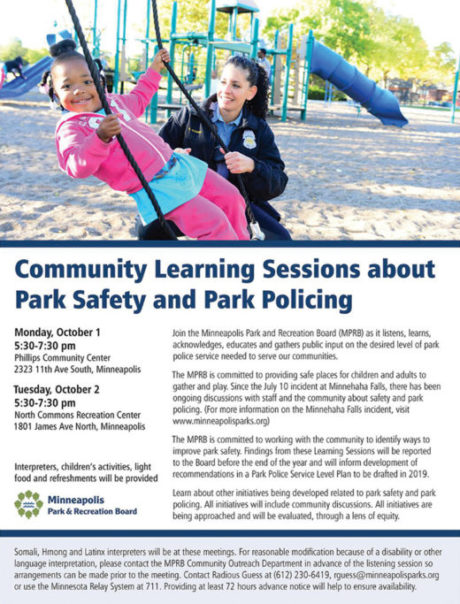 Community Learning Sessions about Park Safety and Park Policing