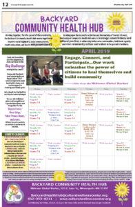 Backyard Community Health Hub April 2019 calendar