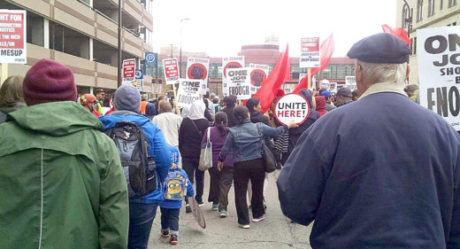 Labor activists march