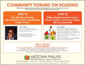 Midtown Phillips Neighborhood Association June Community Forums